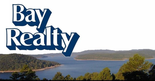 Bay Realty logo and Beaver Lake Arkansas view near Beaver Dam